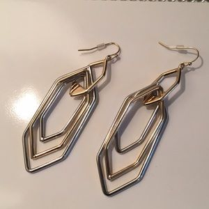 New! Silver and gold long statement earrings